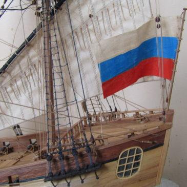 """Постройку модели корабля пинк """"Вологда"""" 1749 года завершил череповецкий судомоделист Сергей Лушкин."""