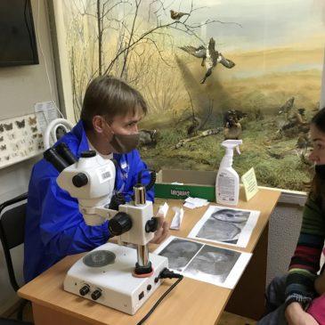Члены РГО научили детей пользоваться  бинокуляром и рассказали о питании и росте рыб
